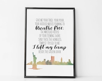 Give me your Tired, Your Poor Print / Canvas - Lady Liberty Poem - Hate Has No Home Here - Human Rights Print -Not My President - Muslim Ban