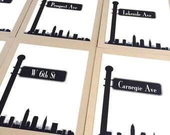 Cleveland Table Number Skyline Street Sign Travel Wedding Decor Your CityCustom Reception