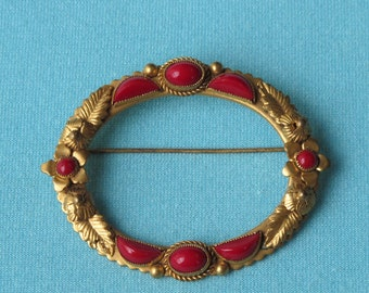 Pin Brooch Red Glass Stones Art Deco Vintage c.1930's Signed Czechoslovakian Gold Toned Setting
