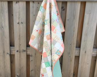 Baby Quilt - Baby Girl Quilt - Stroller Quilt - Girl Quilt - Baby Blanket - Nursery Blanket - Vintage Quilt - Toddler Quilt - Retro Quilt