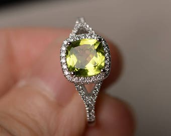 Promise Ring Natural Green Peridot Ring Cushion Cut Gemstone August Birthstone Sterling Silver Ring Gifts
