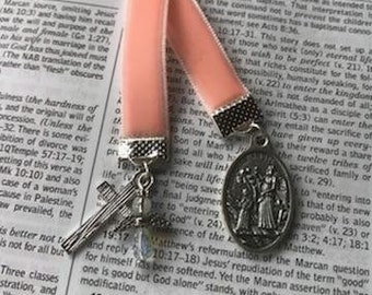 Pink Velvet Bookmarker with Guardian Angel Medal