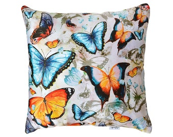 SALE Butterfly pillow cover, original design, bright orange, red, yellow, black, pink, navy blue butterflies, size: 20x20' (49x49 cm)