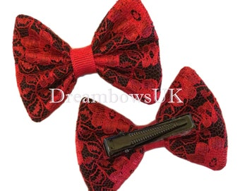 Red and black small lace hair bows on alligator clips, Cute lace hair accessories, crocodile hair clips, hair slides, girls red hair bows Uk