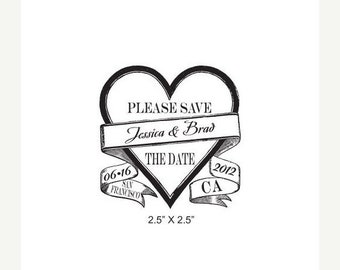 May Sale Vintage Heart with Banner Wedding Save the Date Custom Rubber Stamp AD216