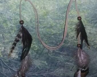 Boho Head Band, Natural Feathers, Adjustable, Natural Hair Accessory, Boho Hair, Bohemian, Hippie Hair,  Nature Theme Accessory, Bird Item