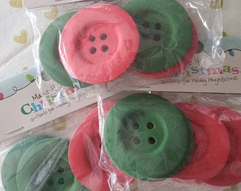 """Extra Large Wood Buttons - Red Green Christmas Sewing Button - 2"""" or 5cm Wide - Lot of 12 Buttons - DESTASH SALE"""