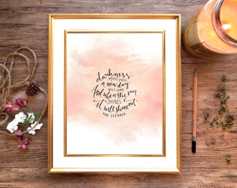 "Inspirational Lord of the Rings Quote Art Print, Digital Download of ""Darkness Must Pass"" Watercolor Printable Calligraphy 8x10 Wall Art"