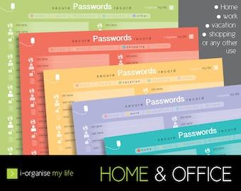 password planner, username planner, download and print, online security planner, internet password organiser, password security organiser