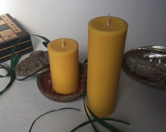 Yellow Soy Wax Pillar Candles