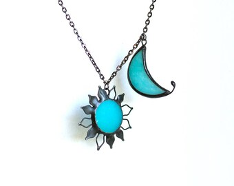 Blue Sun Moon Necklace, Half Moon, Astrological Gift, Sky Jewelry, Stained glass, Gift For Her, Sky Sign