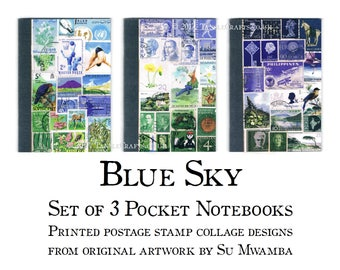 Set of 3 Blue Green Postage Stamp Print Notebooks - Abstract Landscape