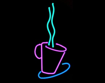 Coffee Time 'Hot Java' Real Neon Wall Hanging Art Sculpture Modern Design