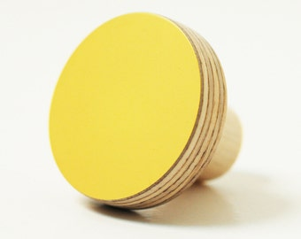 Lemon yellow knobs - furniture knobs inspired by Bauhaus color and shapes
