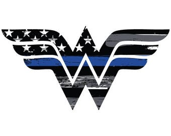 Thin Blue Line Wonder Woman Vehicle Decal.  Vinyl Decal.  Law Enforcement Sticker.  Police Decal