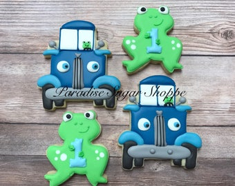 Little Blue Truck and frog Decorated Cookies - 1 Dozen