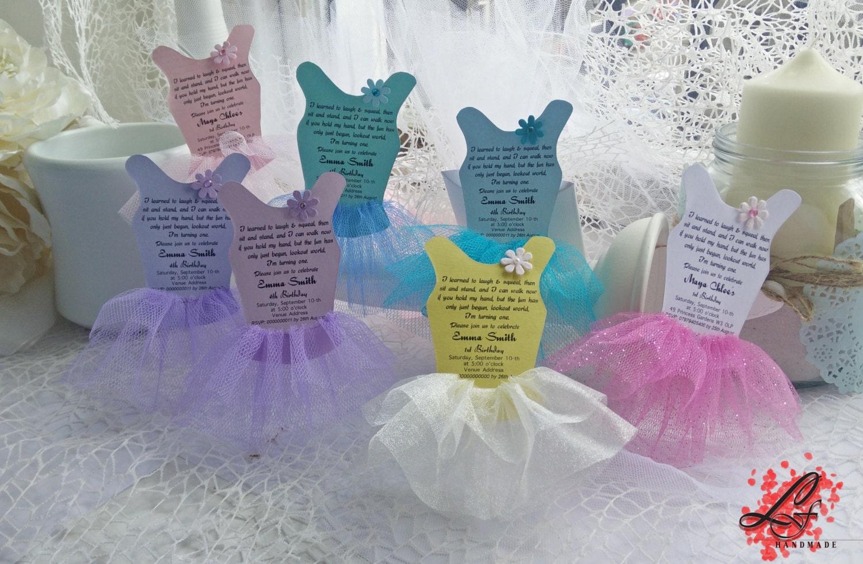 Ballerina Tutu invitations dress invitations tutu cards for