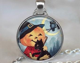 Pumpkin Love pendant, Halloween jewelry Halloween necklace charm Halloween pendant pumpkin pendant black cat key chain key ring key fob
