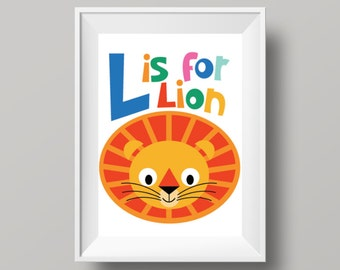 "Colourful Retro Nursery Giclee Print - Slogan 'L is for Lion' - A4 or 8x10"" size - Alphabet Letters Cartoon Poster for Kids Room"