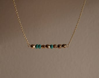 Gold and Turquoise Bar Necklace