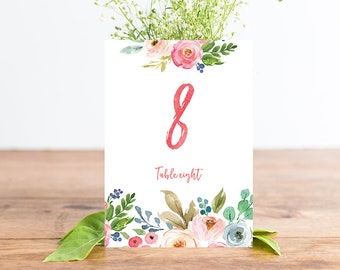 Floral Wedding Table Numbers, Wedding Table Numbers 1-20, Rustic Printable Wedding Table Numbers, Wedding Table Decor WTRTB INSTANT DOWNLOAD