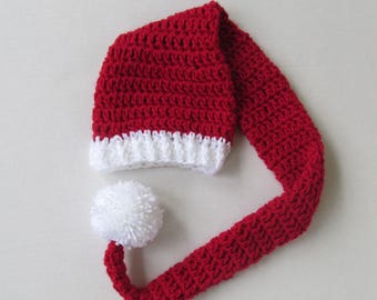 "36"" Long Santa hat~Baby, Child, Adult Sizes~Red & White, elf pixie stocking cap, toboggon hat with big pom pom"