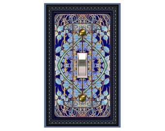 0533x - Art Nouveau Mucha Cobalt II - mrs butler switch plate covers -