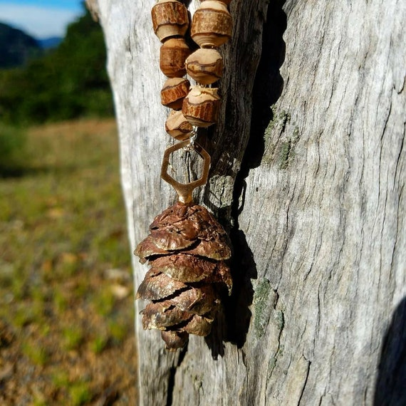 Douglas Fir Cone Hexagon Statement Necklace - Northern California Forest Art Jewelry - NorCal Pacific Northwest PNW West Coast Pinecone
