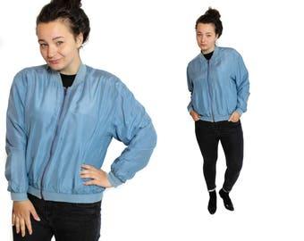 Silk bomber jacket, Zip up jacket, Blue silk jacket, Womens Bomber, Vintage bomber, Bomber jacket, Vintage 80s bomber, Silk jacket / Medium