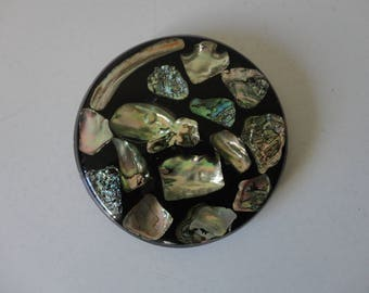 VINTAGE abalone SHELL in resin TRIVET