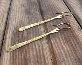 Creekside - Hand forged brass stem earrings - Minimalist Lightweight Earrings - Long Rustic Earrings