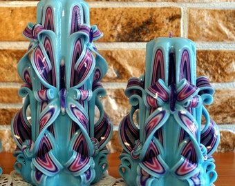 Carved candles- candle set- candle turquoise- unique candles