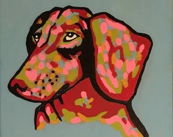 "Dachshund 11x14"" acrylic painting"
