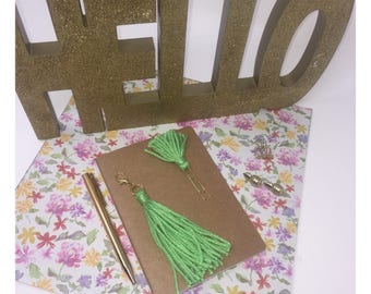 Lime Green Tassel Charm and Small Tassel Paper Clip Planner Set