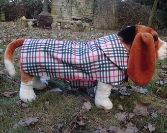 Gray Black Red Plaid Raincoat with Red Fleece Lining - Size Medium - Or Custom Size