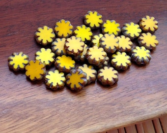 Cactus Flower Beads, Czech glass picasso flower beads, yellow picasso pack of 12