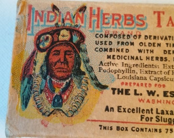 Indian Herb Tablet box, instructions (no tabs)