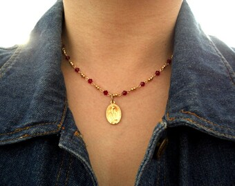 Gold French Miraculous Medal, Ruby or Caribbean Blue Opal Swarovski Bicones & Gold Rondelles Necklace, Gift for her