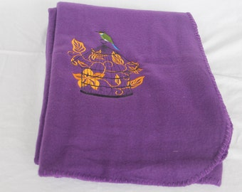 Purple Blanket with Embroidered Birdcage