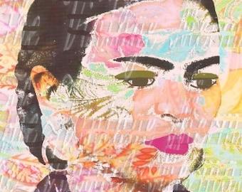 Abstract Frida Kahlo Crafts Fabric Art Block Mexican Artist Altered Art Fk188