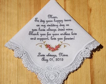 Wedding Handkerchief Embroidered to Mother of Bride Monogrammed Personalized Custom #4304