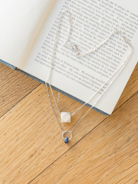 Layered Gemstone Circle Diffuser Necklace (Silver)