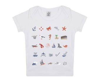 Sailor illustration baby organic cotton tshirt