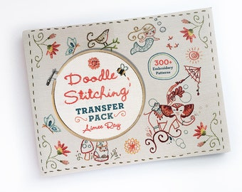Hand Embroidery Patterns Book Doodle Stitching Transfer Pack Iron On embroidery designs by Aimee Ray