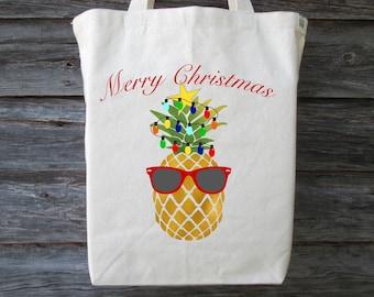 Christmas Pineapple Tote, Christmas Tote, Holiday Pineapple Tote, Merry Christmas Tote, Hawaii Christmas Tote, Hawaiian Christmas, Pineapple