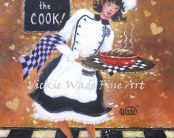 Lady Chef Art Print, girl chef, fat chef paintings, woman waitress, female chef, lady cook, kitchen wall art, wall decor, Vickie Wade art