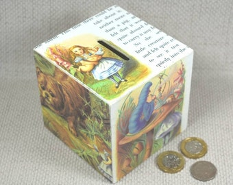 Alice in Wonderland themed Money Box/Piggy Bank, Personalised Option Available + Free Gift Wrapping!