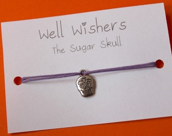 Sugar Skull Charm Bracelet   Wish Bracelet, Wish String, Birthday Gift, Travel, Day of the dead, Mexico, Cinco de Mayo, friendship gift
