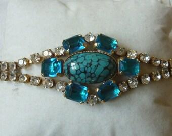 Vintage blue,blue tuquoise, And clear rhinestones bracelet