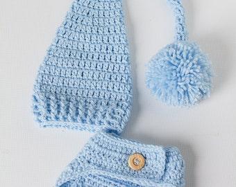 Newborn Elf Hat, Newborn Photo Prop, Hat And Diaper Cover, Newborn Boy Hat, Crochet Hat, Blue Newborn Hat, Blue Diaper Cover, Pom Pom Hat